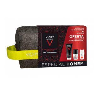 Vichy Homme Coffret Hydra Mag C Gel Duche + Roll-On Antimanchas + Oferta Mini Champô Estimulante