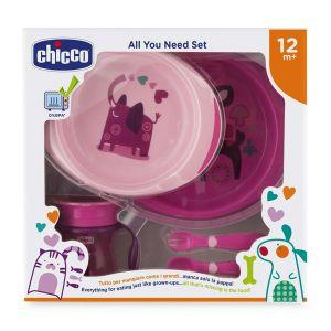 Chicco - Conjunto Refeição 12M+ Rosa