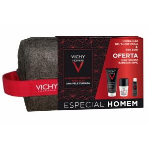 Vichy Homme Coffret Hydra Mag C Gel Duche + Roll-On Antimanchas + Oferta Mini Mousse Barbear Anti-Irritações