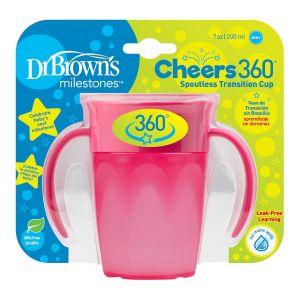 Dr. Brown's Copo 360º sem bocal 6M+ Rosa (200ml)